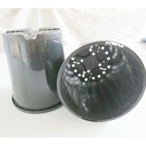 two small black plastic pots