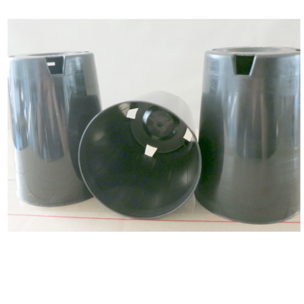 three small black plastic pots