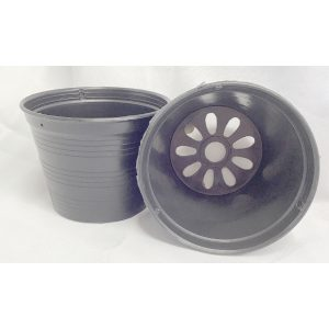 two black plastic pots