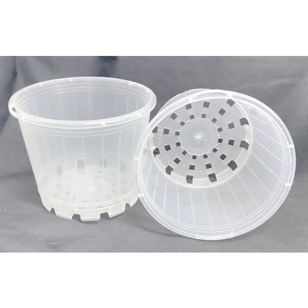 two clear plastic pots