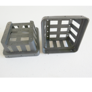 two small black plastic trays