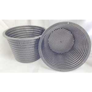 two black plastic pots with holes around