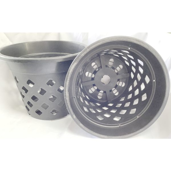 two black plastic pots with holes on the sides