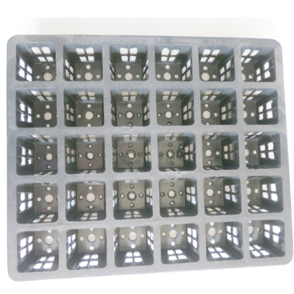 one black plastic carry tray with 30 holes