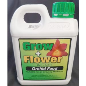 a jug of grow plus flower orchid food