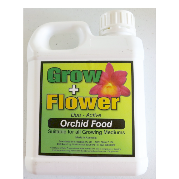 a jug of grow and flower orchid food