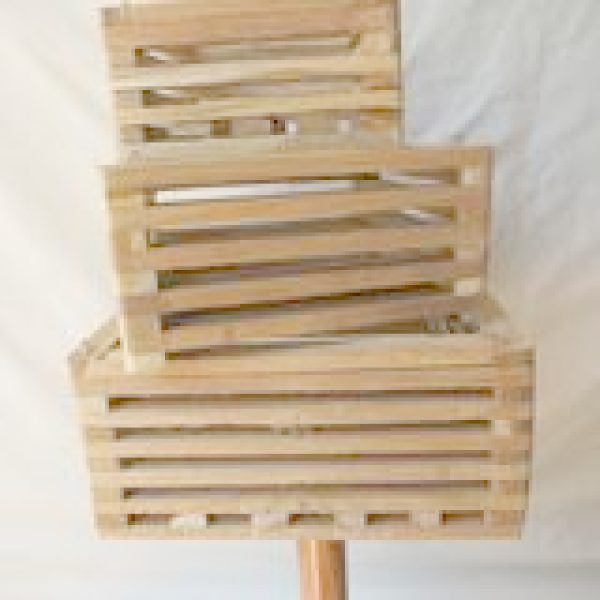 three small wooden baskets
