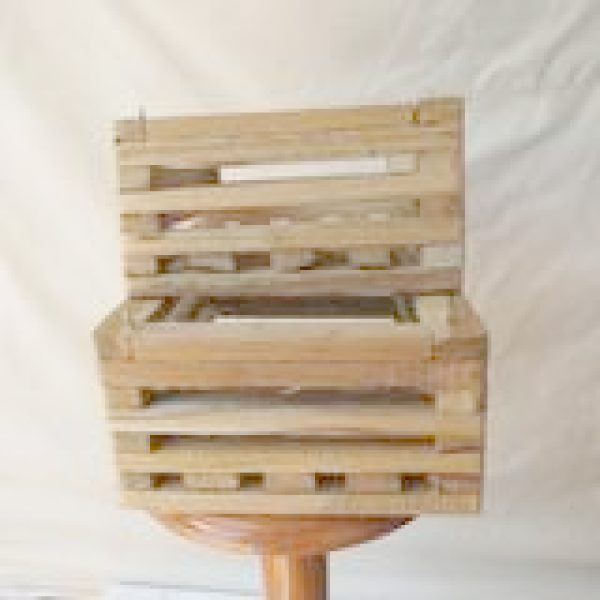 two small wooden baskets