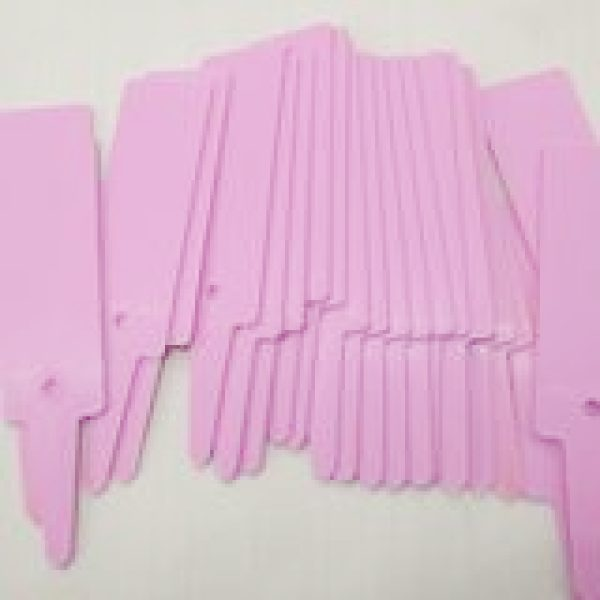 box of 1000 pink plastic t shaped labels