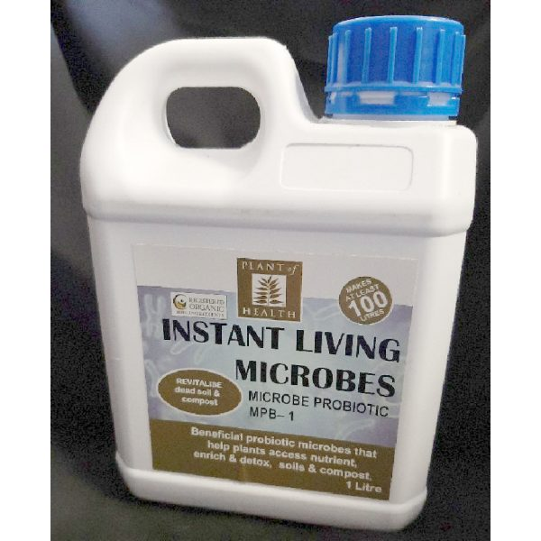 a small jug of instant living microbes
