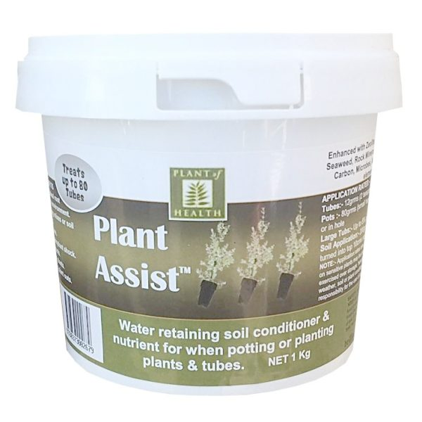 a bucket of plant assist fertilizer